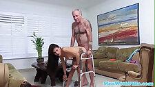 Slutty schoolgirl cocksucking old men