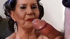 Old granny gets a young stud to bang her while her husband watches