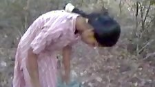 Hard Indian nipples and hairy pussy recorded in park