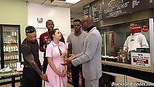 Several black studs fuck all holes of sweet looking waitress Elektra Rose
