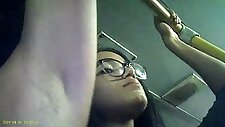 Candid voyeur of latino woman#039s armpit on bus