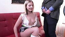 Cute schoolgirl gets teased and plowed by her older teacher