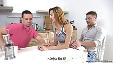 Svelte cheating GF Lina Montana is fucked on the table by aroused stud