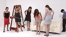 Good looking girls get their round butts punished on the couch