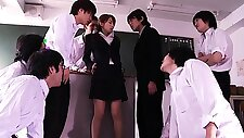 Beautiful Japanese teacher gets gangbanged by her students