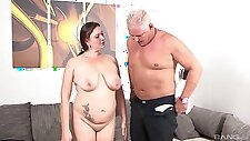 Old man slides his dick in wet pussy of his mature wife Inge