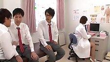 Nozomi Aso is a filthy school nurse who loves cum