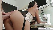 Captivating brunette beauty Rachel Starr banged hard in the kitchen