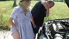 Pregnant blonde fucked outdoors