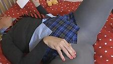 school uniform grey opaque pantyhose no panties