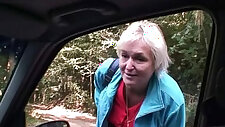 Old bitch her sweet pussy nailed in the car by a stranger