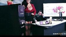Big tit lingerie clad assistant Kiara Mia fucks boss at work