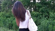 Tight girl Casey Jordan fucked in public place for money