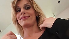 Incredible blonde amateur brunette MILF like hard black dick