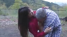 Asian Girl loves her Pussy Licked And Fucked By Old Man Cum To Ass Outdoor