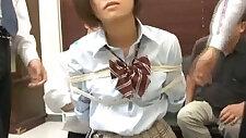 Miku in school uniform gets cocks deepthroat