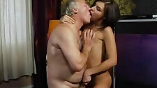 Incredible sweet fucking pussy fucked with her grandpa at home