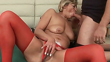 Grandmas pussy licked and fucked by her toy boy