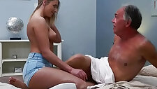 Blonde russian amateur gets Fucked By Hairy Old Man she loves getting sex blowjobs and cum